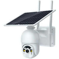 WiFi Solar Surveillance Camera with Solar Panel Outdoor Wireless IP Camera on 14400mAh Battery Dual PIR Detectors Radar Night Vision Color Two-way Audio IP66