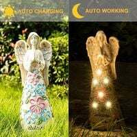 10 Ones Design Garden Angel Figurines Outdoor Decor, Garden Art Outdoor for Fall Winter Decor, Solar Angel with 6 LEDs for Patio, Lawn, Yard Art, Cemetery Grave Decoration, Sympathy Gift, Housewarming Gift