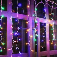 Led Icicle Lights Outdoor Christmas Decorations Lights 300LED Icicle Christmas Lights, Outdoor Fairy String Lights for Party, Holiday, Wedding Decorations (Multicolor)