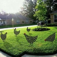 Realistic Hen 2021, Chicken Yard Art Garden Lawn Floor Decoration, Animal Silhouette Garden Metal Stakes, Hollow Rooster Statue Decor For Yard (5Pcs)