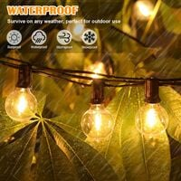 50ft Outdoor G40 LED Globe String Lights Dimmable Waterproof Shatterproof Light Strings with 52 Bulbs Connectable Outside Hanging Lights for Patio House Backyard Balcony Party Commercial