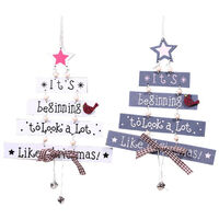Christmas Decorations Sale, 2Pcs Christmas Wood Tree Pendant Creative Wooden Crafts Window Door Kitchen Dress up Wooden Card Hanging - White, Gray