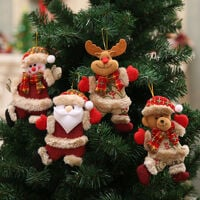 Christmas Decorations Sale, 4PCS Christmas Ornaments Gift Xmas Hanging Decoration Santa Claus Snowman Reindeer Bear Doll for Christmas Holiday Party Home Decor