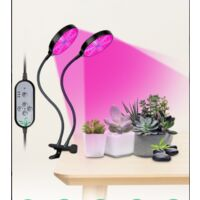 Grow Light, USB 3W Dual Head Timing 40 LED Grow Lamp Bulbs Plant Lights Full Spectrum, Auto ON & Off with 3/9/12H Timer 5Dimmable Levels Clip-On Desk Grow Lamp for Indoor Plants Home