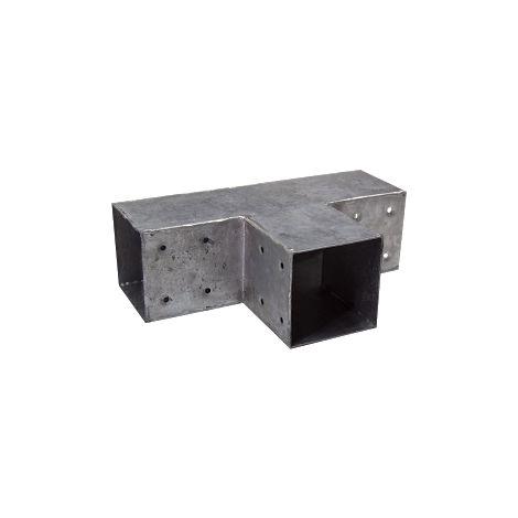 Connecteur 3D en T angles 90° pour poteau 9x9 cm