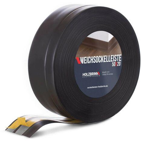 HOLZBRINK Plinthe Souple Autoadhésive Noir Plinthe pliable, 50x20 mm, 5 m -