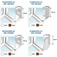 STEIGNER 5 m Joint de Fenêtre Autocollant Profil D Marron Joint en Caoutchouc EPDM Joint d'Étanchéité - Marron