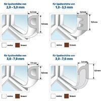 STEIGNER 10 m Joint de Fenêtre Autocollant Profil D Marron Joint en Caoutchouc EPDM Joint d'Étanchéité - Marron
