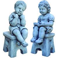 Statue décorative ENFANTS SUR BANC en pierre reconstituée pour le jardin 40cm.