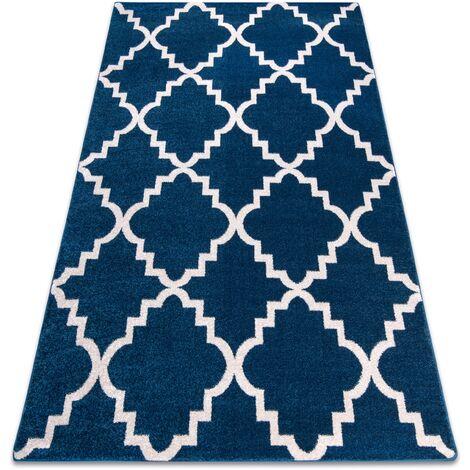 Alfombra SKETCH - F343 azul/blanco Enrejado Trébol marroquí Tonos de azul 280x370 cm