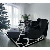 Alfombra SKETCH - F730 negro/blanco Enrejado Trébol marroquí Negro 240x330 cm