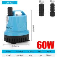 60W Mini pompe à eau sans brosse ultra-silencieuse submersible Fontaine submersible étanche pour réservoir d'aquarium