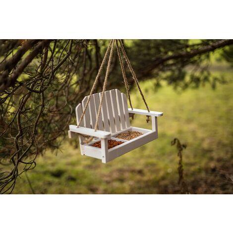 White Wooden Swing Seat Bird Feeder Bfhang4fsc