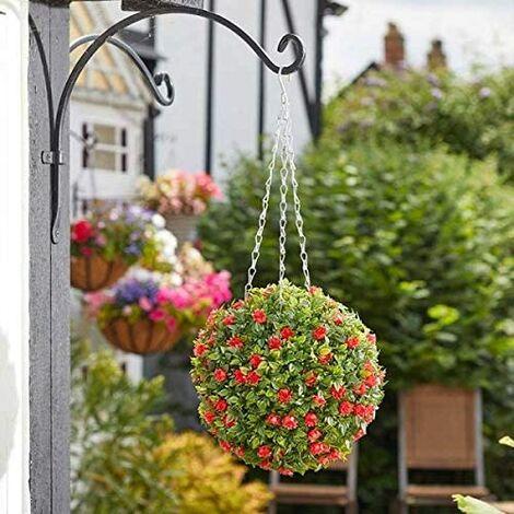 Artificial Garden Hanging Baskets - Red Rose Ball