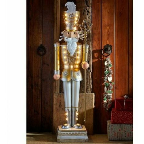 Christmas Large Nutcracker Decoration Xmas Pre-Lit LED Festive Ornament Xmas