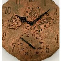 Butterfly Garden Wall Clock with Thermometer