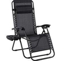 PEDY Chaise longue de jardin, pliable, avec porte-gobelets et coussin appuie-tête, réglable, fauteuil ergonomique et respirant avec structure en acier, noir.