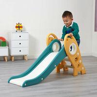 Kids Foldable Rocket Slide Outdoor Indoor Children's Slide - Green and Gold - Green and Gold