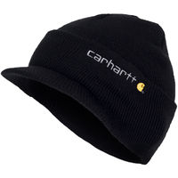 4e9242af2c8 Carhartt Winter Hat with Visor - Black CHA164BLK Mens Beanie with peak Hat  Universal