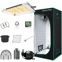 Mars Hydro TS 600W Led Grow Light + 2'x2' Indoor Tent Kits Carbon Filter Fan - Silver