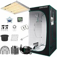 Mars Hydro TSW 2000W Led Grow Light+4'x4' Indoor Tent Complete Ventilation Kits - Silver