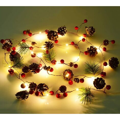 1 Pieces Berry Christmas Holly Garland, 200cm LED String Lights Christmas Berries Pine Cones Garland Deco for Christmas Crafts Decor