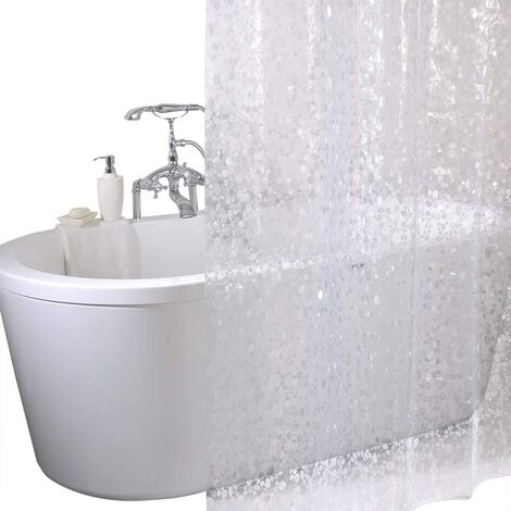 Shower Curtain 100% Waterproof EVA, Mildew and Mildew Resistant Bathroom Curtain Liner with Curtain Hooks, 180 x 180 cm (71 x 71 Inches)