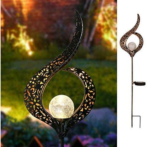 Metal solar garden lights with LED flowers for patio, path, yard, lawn, etc. (flower)