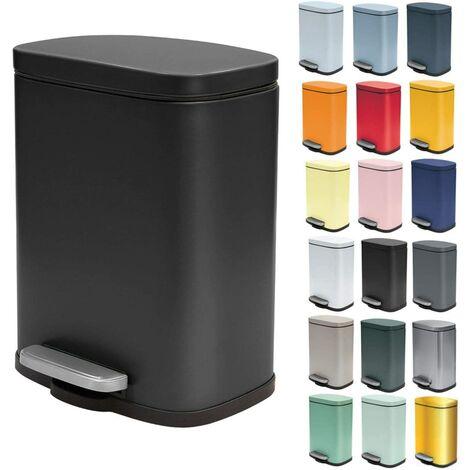 5 Liter Soft Close Stainless Steel Pedal Bin with Plastic Inner Container Akira Bathroom Garbage Bin Chute Brake Matte Black