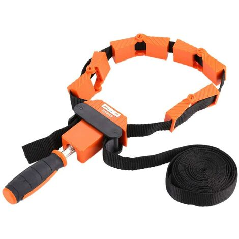 Tape clamp, 4.0 m, tape clamp, 4 m, fast frame, image processing, strap, ratchet, angle miter tool, quick adjustable, for picture frames, drawers, one hand belt, 4 flexible jaws