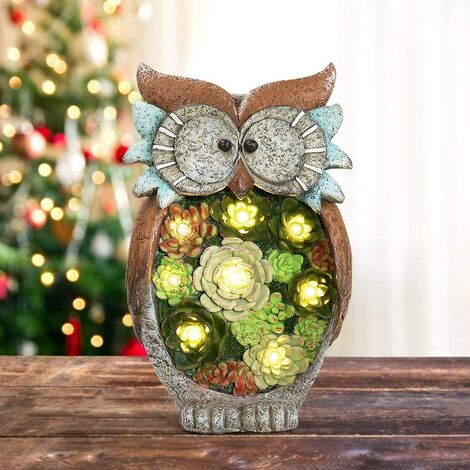 Garden Statue Owl Figurine - Resin Statue with Solar LED Lights for Patio Yard Art Decor, Lawn Ornaments, Indoor Outdoor Decorations, 10.5 x 6 Inch