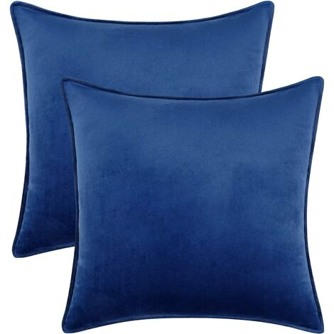Pack of 2 Velvet Throw Pillow Covers, Soft Square Decorative Throw Pillows, Home Decorations Cushion Covers for Sofa Couch Bed Chair, Blue, 18 x 18 Inch