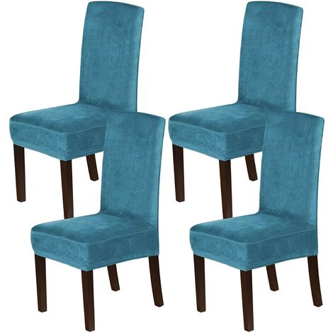 Velvet Dining Chair Covers Stretch Chair Covers for Dining Room Set of 4 Parson Chair Slipcovers Chair Protectors Covers Dining, Soft Thick Solid Velvet Fabric Washable, Peacock blue