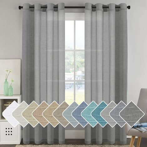 52 - Inch Width by 96 - Inch Length Natural Linen Blended Curtain Panels for Living Room / Light Reducing Linen Sheer Curtains, Nickel Grommet Window Panels -Set of 2, Light gray