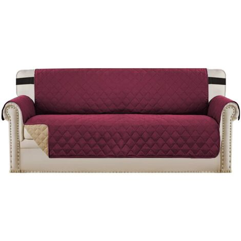 """Sofa Protector for Dogs/Cats/Pets Sofa Slipcover Quilted Furniture Protector with Non Slip Elastic Strap Water Resistant Sofa Covers Couch Covers Seat Width: 66"""", Red wine"""