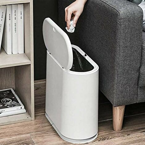 Trash Can, 10 Liter / 2.4 Gallon Plastic Slim Garbage Container Bin with Press Top Lid, White Waste Basket for Kitchen, Bathroom, Living Room, Office, Narrow Place(White)