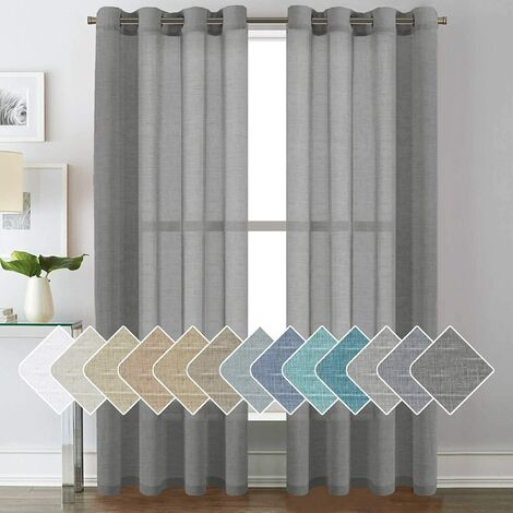 52 - Inch Width by 84 - Inch Length Natural Linen Blended Curtain Panels for Living Room / Light Reducing Linen Sheer Curtains, Nickel Grommet Window Panels -Set of 2, Light gray