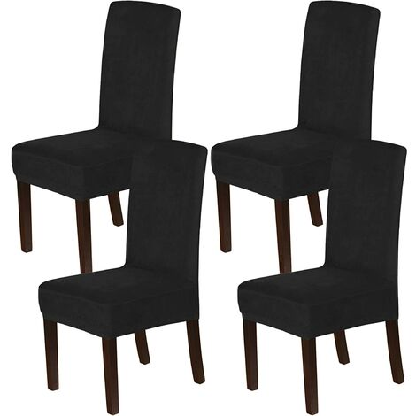 Velvet Dining Chair Covers Stretch Chair Covers for Dining Room Set of 4 Parson Chair Slipcovers Chair Protectors Covers Dining, Soft Thick Solid Velvet Fabric Washable, black