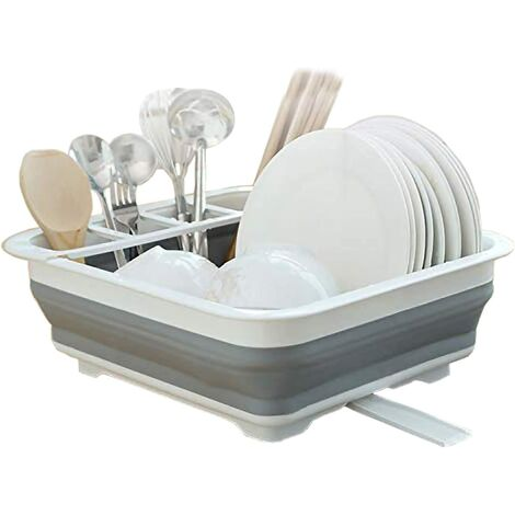 Collapsible Dish Drying Rack and Drainboard Set Portable Dish Drainer Storage Organizer Camping RV Kitchen Accessories for Travel Trailers RV Campers (12.4''Wx16''L)
