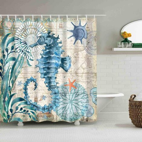 """Shower Curtains Mediterranean Style Marine Life, Bath Fantastic Decorations Waterproof Polyester Fabric Bathroom Shower Curtain Liner with Hooks 72"""" x 72"""" (Sea Horse)"""