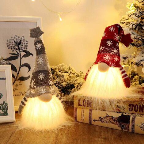 Scandinavian Christmas Gnome Lights with Timer, Swedish Santa Tomte Gnome, Nordic Xmas Decoration - Set of 2 (Red & Grey)