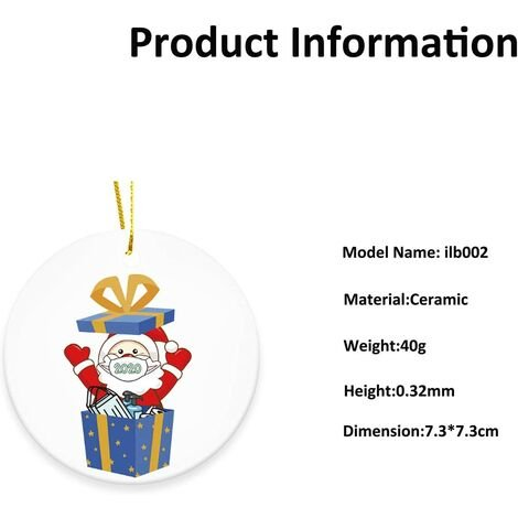 Christmas Tree Ceramic Ornaments, 2020 Cute Santa Claus Merry Christmas Home Decor with Gift Box, Cute Mini Xmas Holiday Decorative Hanging Decoration Indoor (CT2)
