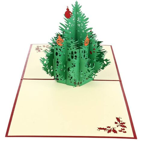 Christmas Decorations 2pcs Christmas Tree Pop Up Cards for Christmas Holiday Handmade Greeting Card Cut with Envelope