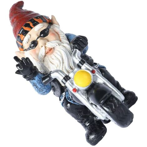Outdoor Statues Tree Decor Faces Garden Gnomes Clearance Gnomes Funny Naughty gnome Gnome on A Motorbike Figurine Gnome Statue Outdoor Garden Decoration (Blue)