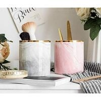 Makeup Brush Holder Cosmetic Storage Organizer Chic Marble Style for Beauty Vanity Bedroom Bathroom Countertop (White)