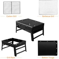 BBQ Grill, Portable and Foldable Outdoor Stainless Steel Smokeless Charcoal Table Grill Outdoor BBQ for Garden Patio Picnic Camping Travel (36 x 29 x 7.5 cm)
