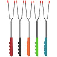 Set of 5 Extendable Stainless Steel 32cm 115cm, BBQ Skewer BBQ Campfire Skewers BBQ Cutlery BBQ Skewers with Rubber Handle and Carry Bag for BBQ, Camping, Marshmallows, Campfire