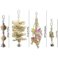 8 packs of bird toys, swing for birds and parrots, bird cage toys - natural wood to hang, for small parakeets, cockatiels, parakeets