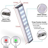 Cabinet Light, Motion Sensor Cabinet Light, Cordless Storage Cabinet Light with Built-in Rechargeable Battery, Magnetic Stick-On Night Light, for Kitchen Cabinet