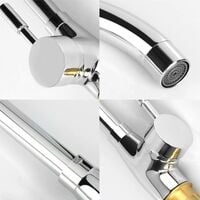 Kitchen Faucet, with 360 ° Rotating Kitchen Mixer and Hot and Cold Adjustable Tap, Suitable for Kitchen Sink, with Starlight Chrome Plating and Durable Design Body Copper